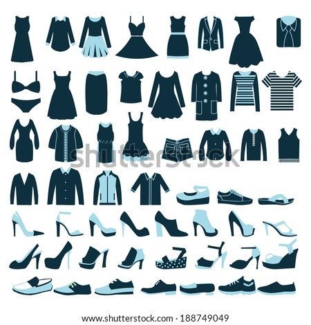 Collection of fashion Men's and Women Clothes and shoes set of fashion element - stock vector