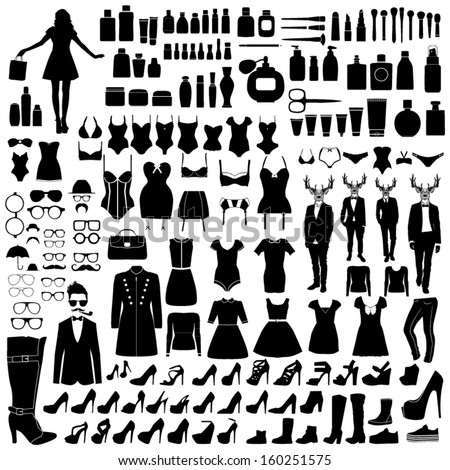 Collection of fashion silhouettes - stock vector