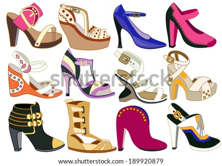 collection of fashionable women's shoes (vector illustration) - stock vector