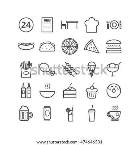 Collection of 25 fast food outline icons. Linear icons for web, print, mobile apps