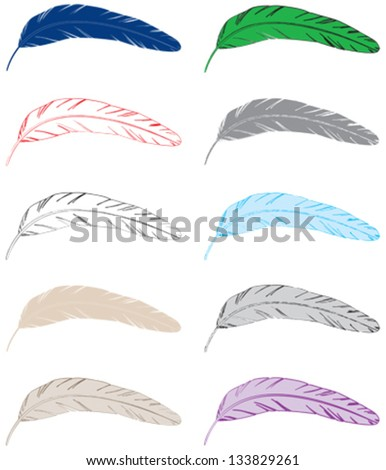 Collection of feathers, silhouettes, outlines - stock vector