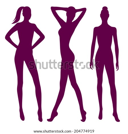 Collection of female silhouettes in front view. Vector illustration, isolated on white background  - stock vector