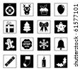 collection of festive christmas icons in black and white - stock vector