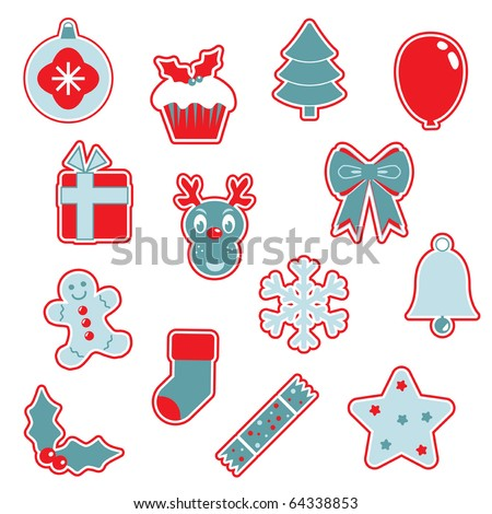 collection of festive christmas icons in red and blue