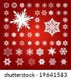 Collection of 50 Fifty White 3D Effect Vector Snowflakes on Red - stock vector