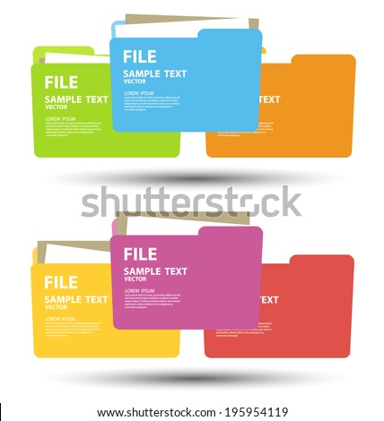 Collection of file folder with documents vector illustration - stock vector