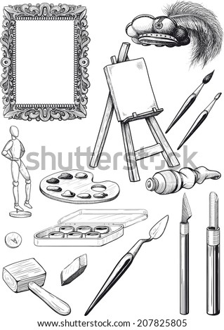 collection of fine art engravings made in the form isolated on white background - stock vector
