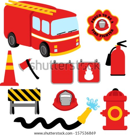 Collection of Firefighter / Fireman Symbols - stock vector