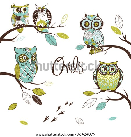 Collection of five different owls, sitting on the tree brunches - stock vector