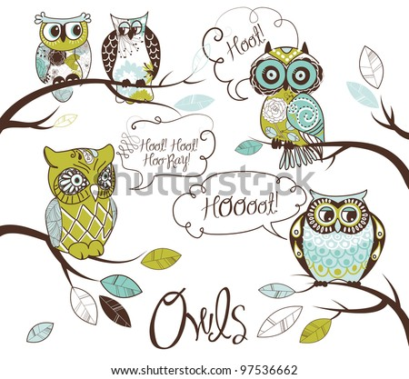 Collection of five different owls with speech bubbles - stock vector