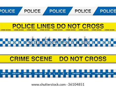 collection of five police tape with crime scene information - stock vector