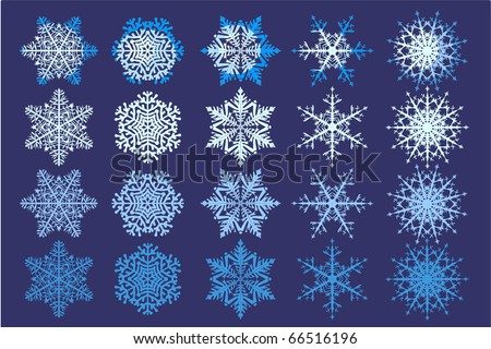 Collection of five snowflakes and their color variations - stock vector
