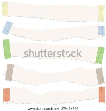 collection of five white colored scraps of papers with adhesive strips - stock vector