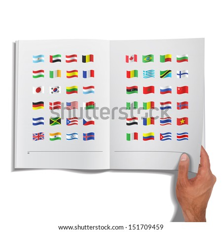 Collection of flags printed on book. Vector design - stock vector