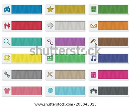 collection of flat color modern web buttons, isolated on white with transparencies - stock vector