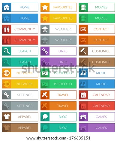 collection of flat color modern web buttons, 2 variations isolated on white - stock vector
