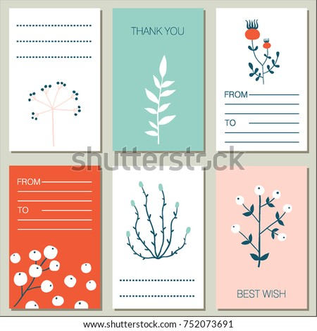 Collection 6 flat design greeting cards stock vector 752073691 collection of 6 flat design greeting cards vector herbs and flowers cards set simple m4hsunfo