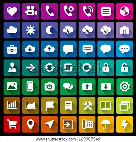 Collection of 49 flat icons - 2 - stock vector