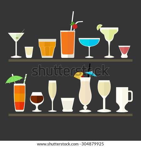 Collection of flat icons of different glasses for cocktails and drink. - stock vector