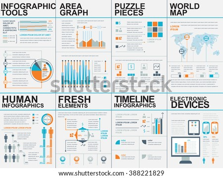 Collection of flat infographic vector design template. Can be used for workflow processes, flow chart, banner, number options, web design, infographic elements, business planning. - stock vector