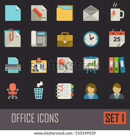 Collection of flat office icons on dark background - stock vector