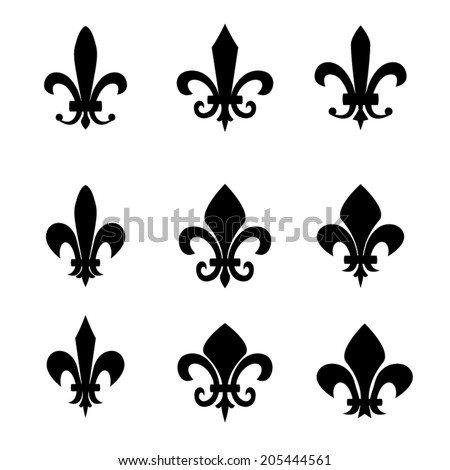 Collection of fleur de lis symbols - black silhouettes - stock vector