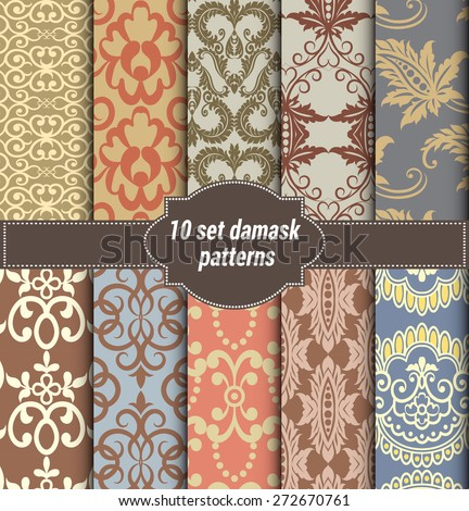 collection of floral patterns for making damask wallpapers, vintage styles, pattern swatches included, - stock vector