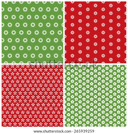 Collection of flower patterns - stock vector