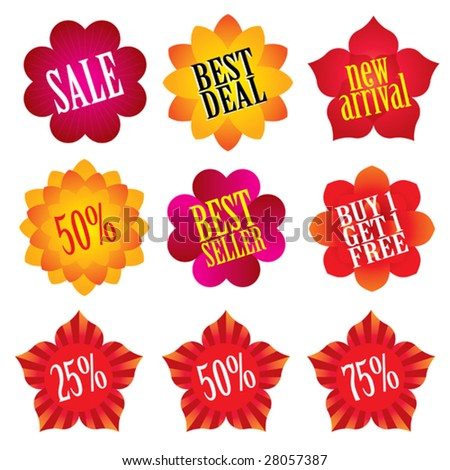 Collection of flower shaped sale labels. - stock vector