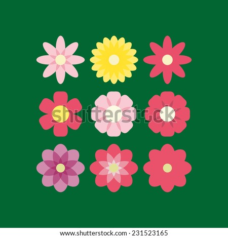 Collection of flowers. Vector illustration. - stock vector