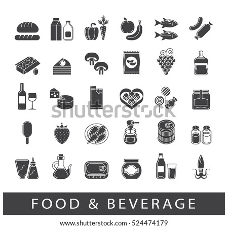 Collection of food and beverage icons. Set of food stuffs.