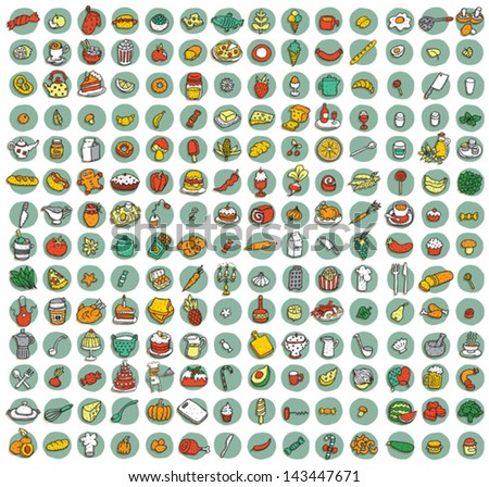Collection of 196 food and kitchen doodled icons (vignette) with shadows, on background, in colours. Individual illustrations are isolated and in eps10 vector mode. - stock vector