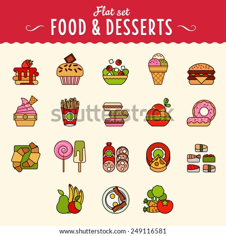 Collection of food icons in flat design style. large set illustrator vector modern concept - stock vector