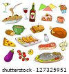 collection of foods and dishes (JPEG available in my gallery) - stock vector
