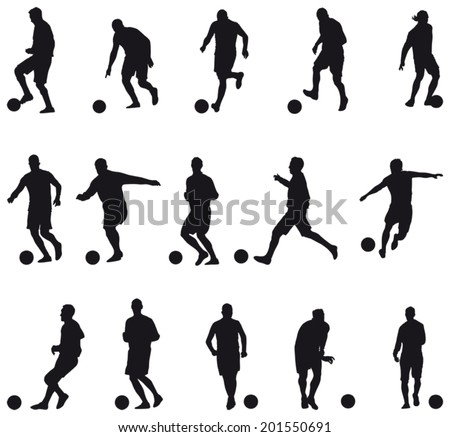 Collection of football players silhouettes (soccer) - stock vector