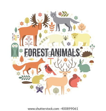 Collection of forest animals arranged in a circle. Flat style illustration isolated on background.  Zoo cartoon collection for children books and posters. Wolf, reindeer, moose, racoon, fox - stock vector