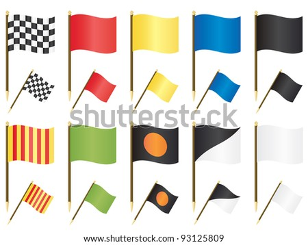 collection of formula one racing flags isolated on white - stock vector
