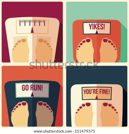 Collection of four bathroom weight scales, flat design, vector illustration - stock vector