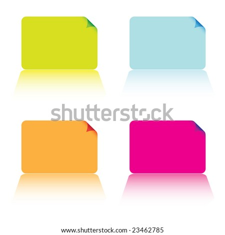 Collection of four business cards in different colours