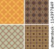 Collection of four decorative symmetric seamless patterns - stock vector
