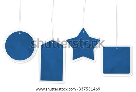 Collection of four different blue paper price tags with structure and place for your text - isolated on white background. Vector illustration. - stock vector
