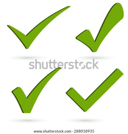 collection of four different green success check marks with shadow - stock vector