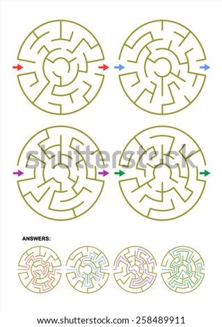 Collection of four different round maze templates for your designs and projects. Answers included.   - stock vector