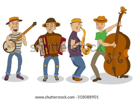Collection of four different street musicians, isolated over white background. - stock vector