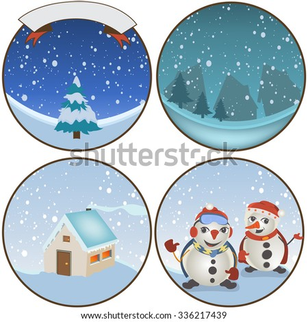 Collection of four different winter rounded backgrounds. - stock vector
