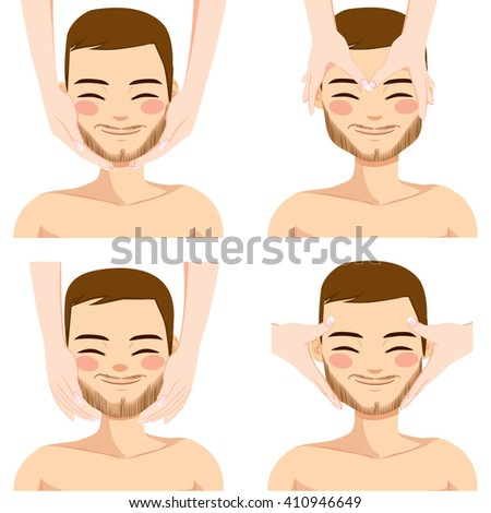 Collection of four facial massage techniques on attractive young man isolated on white background - stock vector