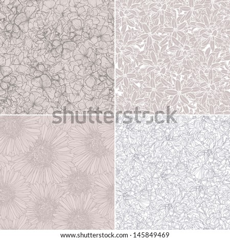 collection of four floral linear patterns, flower backgrounds - stock vector