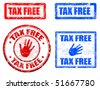 Collection of four  grunge rubber stamp with the text tax free written inside the stamps - stock photo