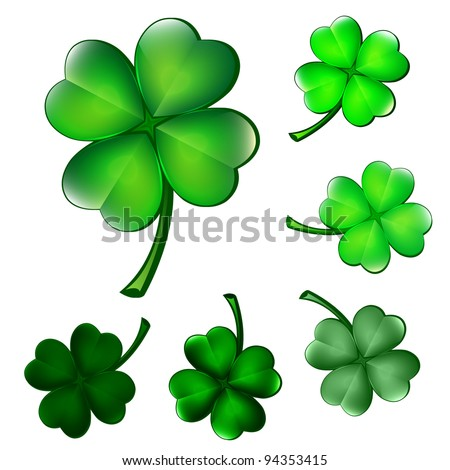 Collection of four-leaf clovers - stock vector