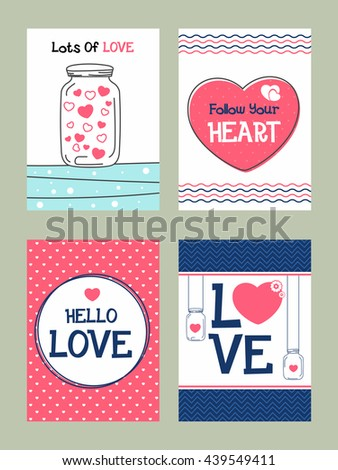 Collection of four Love Cards, Set of Love Design elements, Cute hand drawn doodle Greetings, Invitation design for Wedding, Save the Date, Valentine's Day and Birthday celebration. - stock vector
